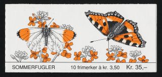 Norway 1034b Booklet Butterflies,  Flowers photo