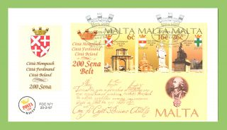Malta 1997 Bicentenary Of Maltese Cities Miniature Sheet On First Day Cover photo