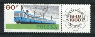 Poland 1966 60g Electric Train Commemorative Stamp With Tab Sg 1636 Fine photo