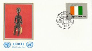 United Nations 1988 Flag Series Ivory Coast Unicef First Day Cover York Shs photo