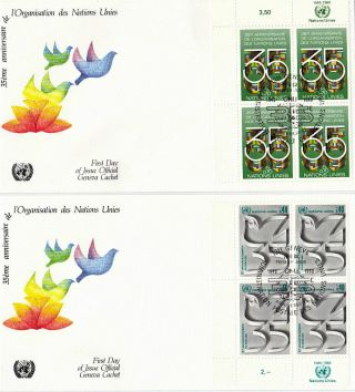 United Nations 1980 35th Anniversary Blk 4 On First Day Cover Geneva Shs photo