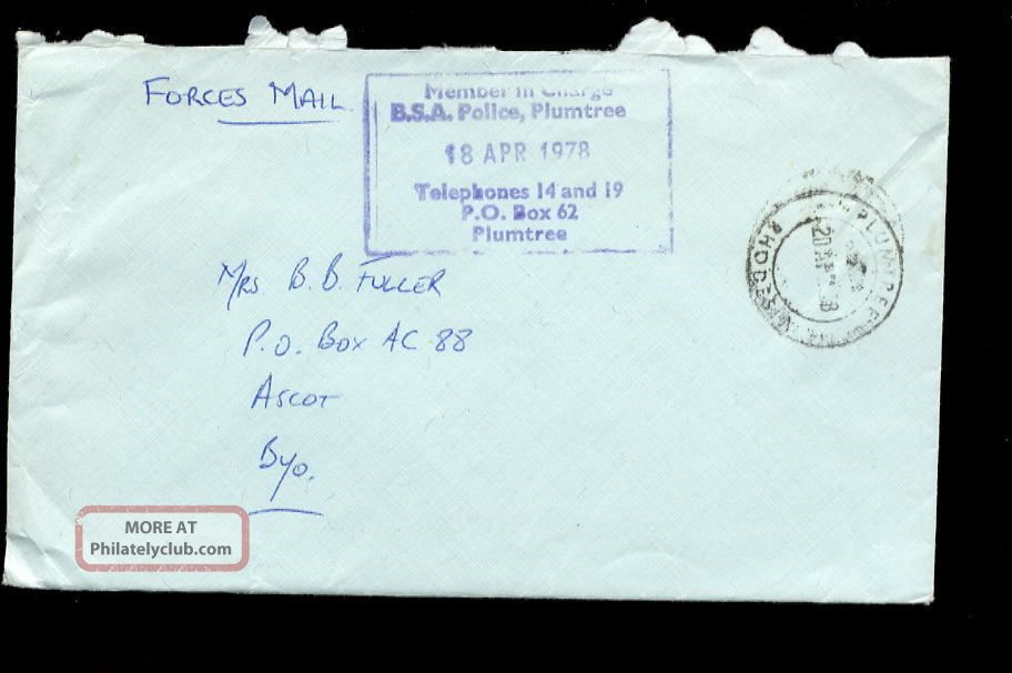 Rhodesia 1978 Bsa Police Official Cover Plumtree Africa photo