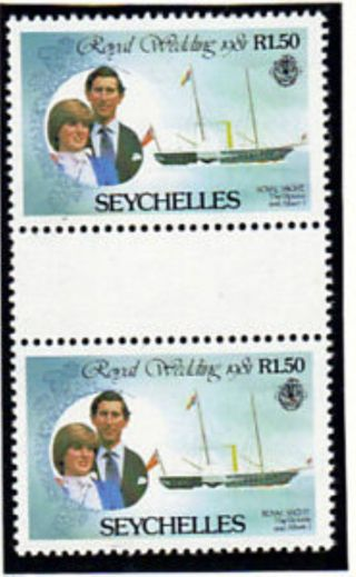 Seychelles 1981 Royal Wedding R1.  50 Gutter Pairs Ex Booklet photo
