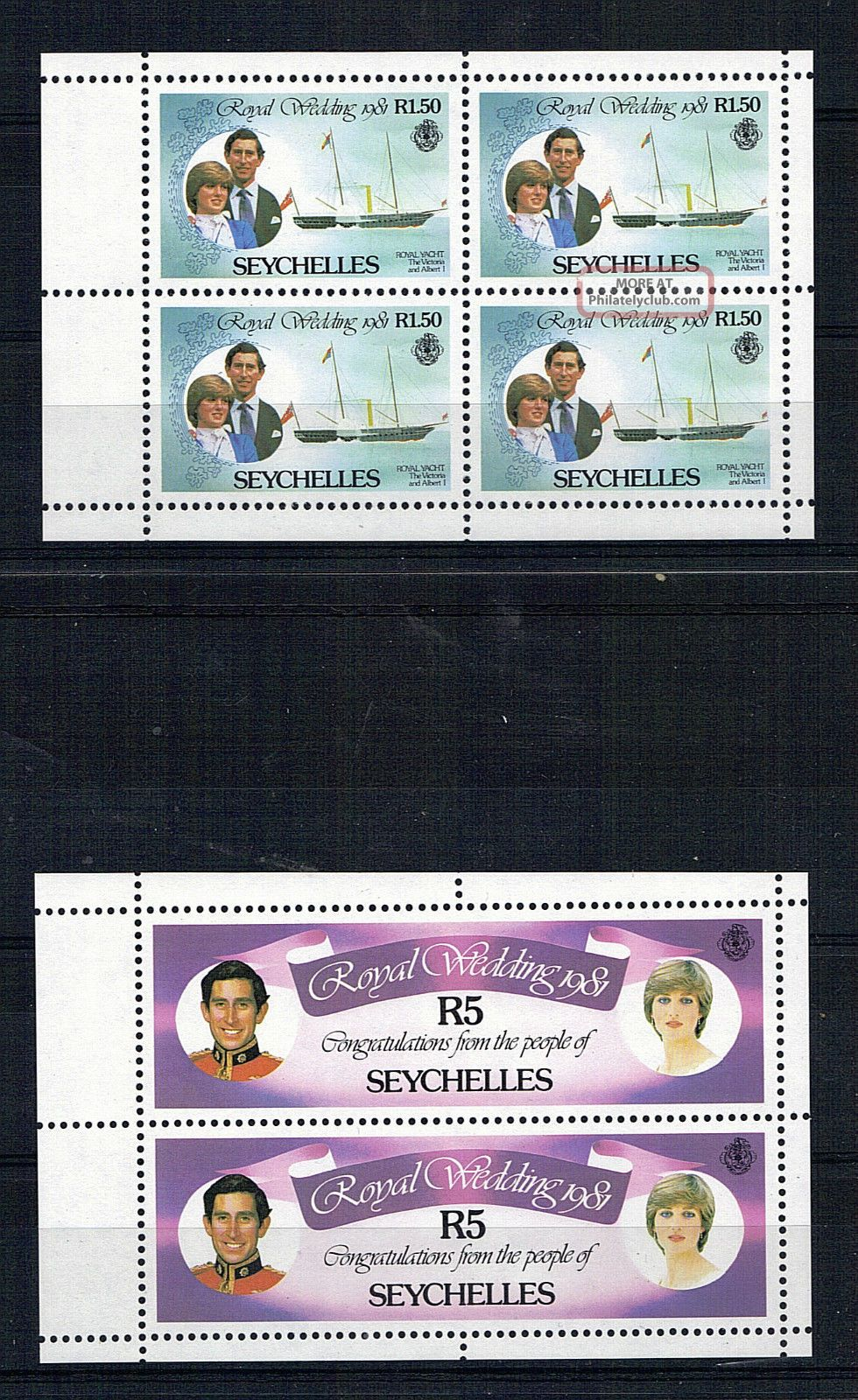 Seychelles 1981 Royal Wedding Booklet Pair Full Panes Africa photo