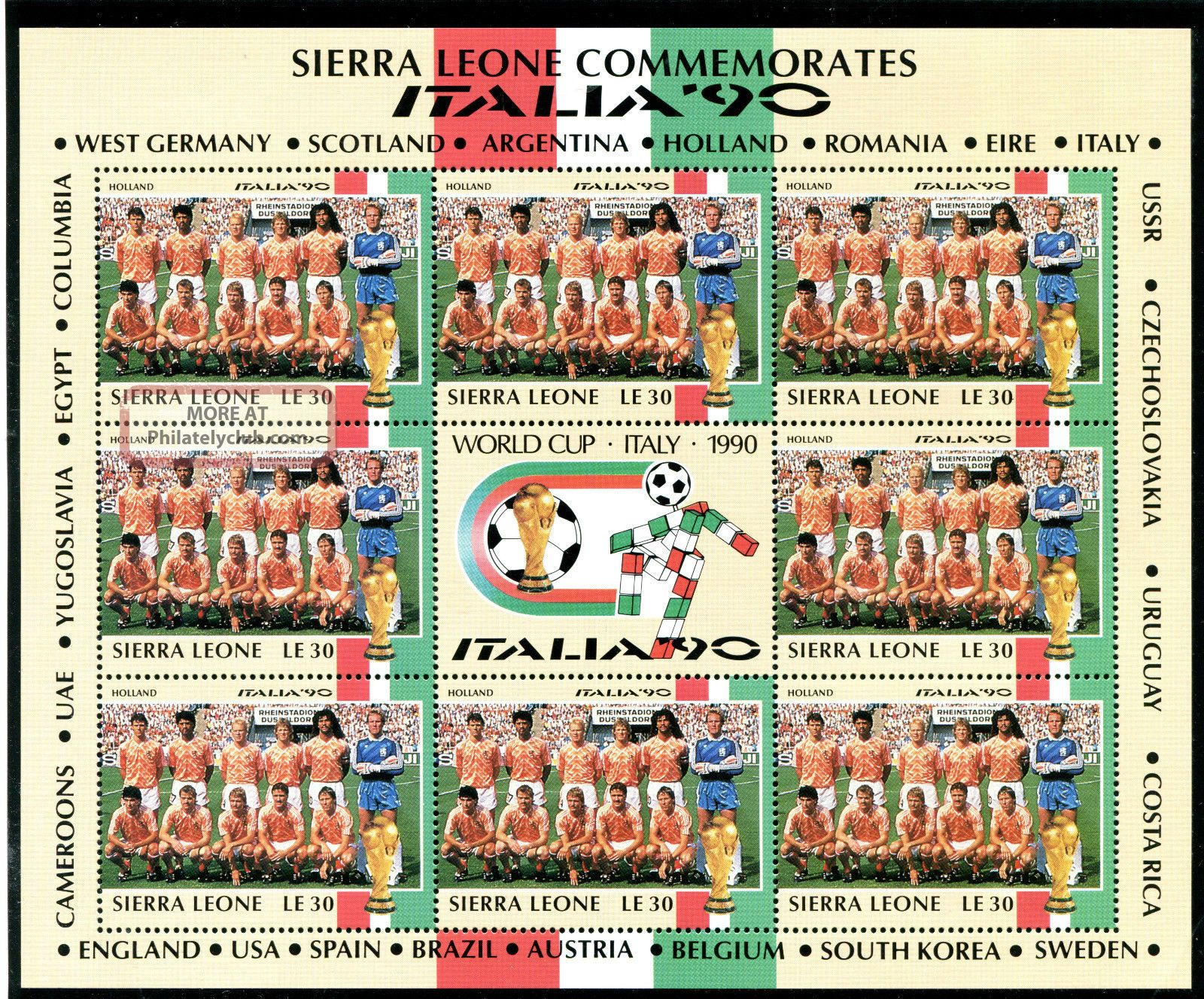 Sierra Leone 1990 Italy World Cup Sheetlet Holland Team Africa photo