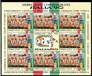 Sierra Leone 1990 Italy World Cup Sheetlet Holland Team photo