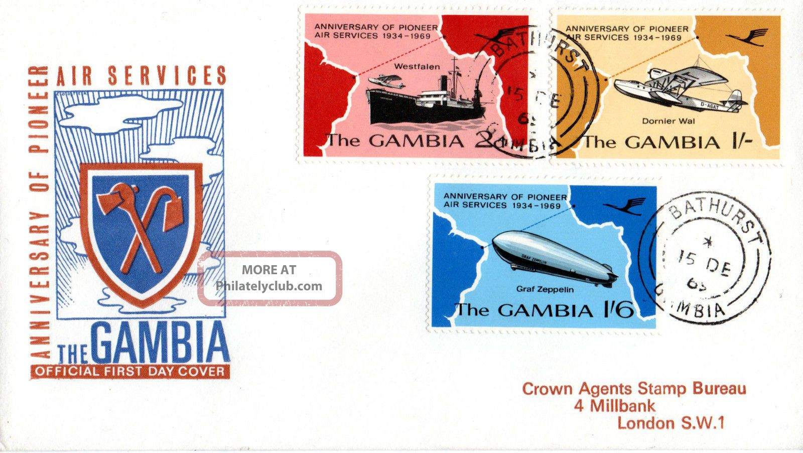 Gambia 15 December 1969 Pioneer Air Services First Day Cover Bathurst Cds Africa photo