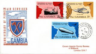 Gambia 15 December 1969 Pioneer Air Services First Day Cover Bathurst Cds photo