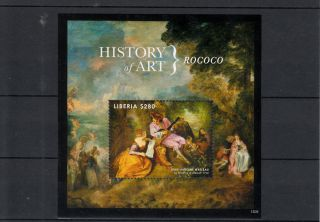 Liberia 2013 History Of Art Rococo 1v S/s Jean - Antoine Watteau Gamme D ' Amour photo