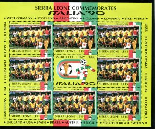 Sierra Leone 1990 Italy World Cup Sheetlet Columbia Team photo