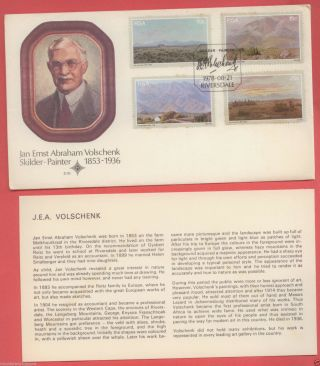 South Africa J.  E.  A Volschenk 1978,  First Day Cover Fdc With Card,  Official,  Vf+ photo