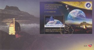 South Africa - 62nd Intl.  Astronautical Congress 2011 - Fdc 8.  25 And Mini Sheet - photo