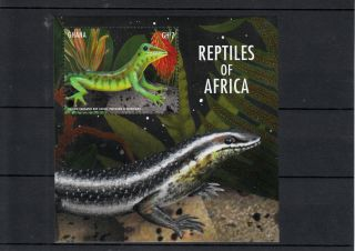 Ghana 2013 Reptiles Of Africa I 1v S/s Lizards Yellow Throated Day Gecko photo