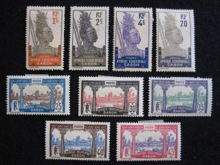 Gabon - Scott 49 - 51,  57 - 58,  60,  62 - 64 - Ss - Mh - Cat Val $62.  65 photo