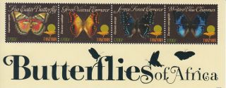 Tanzania 2011 Butterflies Of Africa 4v Sheetlet Fig Eater Blue Charaxes photo