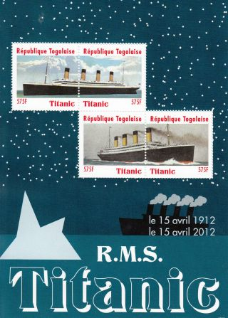 Togo 2012 Titanic 4v Sheet Rms Le 15 Avril 1912 100 Year Anniversary Ships photo