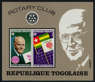 Togo 822a Rotary International,  Paul P.  Harris,  Flags photo