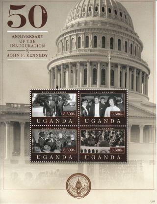Uganda 2012 John F Kennedy 50th Ann Inauguration 4v Sheet Us Presidents Jfk photo