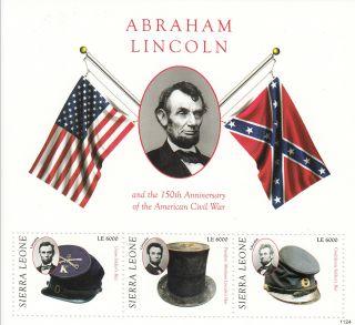 Sierra Leone 2011 Abraham Lincoln & 150th Ann American Civil War 3v Sheetlet photo