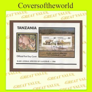 Tanzania 1985 Rare Animal Species Of Zanzibar M/s On First Day Cover photo