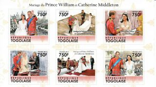 Togo 2011 Royal Wedding 6v Sheet Prince William Catherine Middleton Kate photo