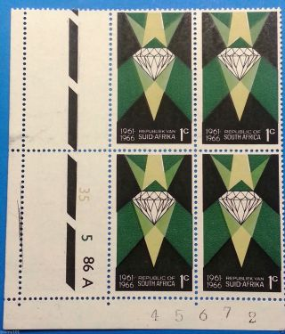 South Africa 1966 – 1c Diamond Ctrl Block A With Var.  Colour Shift – photo