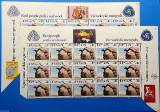 South Africa 1972 – 2 X 4c Sheep With Interesting Cartoon & Wool Slogans – photo