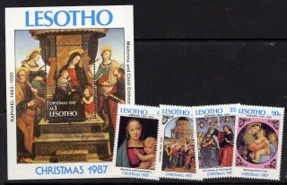 Lesotho 601 - 5 Christmas,  Art,  Paintings photo