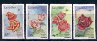 Lesotho 1040 - 3 Christmas,  Roses,  Flowers photo