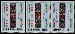 Liberia 791 - 3 Christmas,  Art,  Stained Glass photo