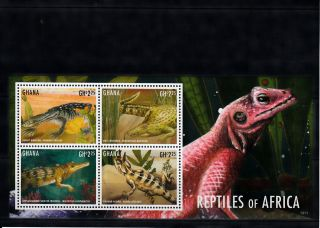 Ghana 2013 Reptiles Of Africa I 4v M/s Lizards Crocodiles Agama Monitor photo