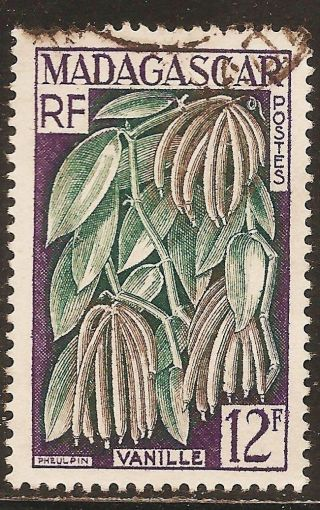 1957 Madagascar,  Malagasy: Scott 299 - Plants (12f - Vanilla Planifolia) - photo