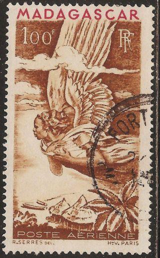1946 Madagascar,  Malagasy: Scott C52 - Air Mail (100 Fr - Allegory) - photo