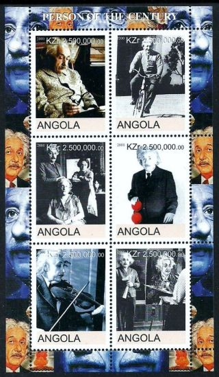 Angola 2000 Einstein Smoking Cycling Bicycle Music Violin photo
