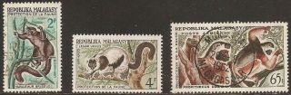 1961 Madagascar,  Malagasy: Scott 321 - 322,  C67 (3) - Lemurs (monkeys) Mint/used photo