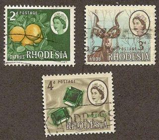Rhodesia Scott S 224 - 226,  Queen Elizabeth Ii & Various Products, ,  1966 photo