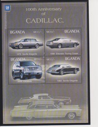 Uganda 100 Years Of The Cadillac Sheet Of 4 & S/s Scott 1817 & 1819 photo