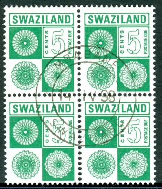 Swaziland 1978 Stamp 5c Postage Due Block Of 4 Fine (cto) photo