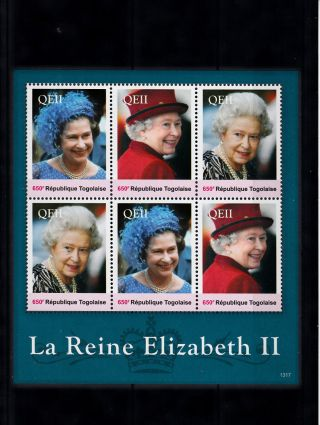 Togo 2013 Reign Elizabeth Ii 6v Sheetlet Ii Queen Royalty La Reine Togolaise photo