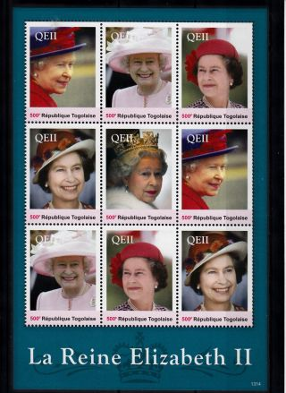 Togo 2013 Reign Elizabeth Ii 9v Sheetlet I Queen Royalty La Reine Togolaise photo