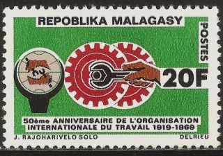 1969 Madagascar,  Malagasy: Scott 423 - 50th Anniversary Of I.  L.  O.  (20 Fr) photo