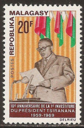 1969 Madagascar,  Malagasy: Scott 426 - President Tsiranana (20 Fr) - photo