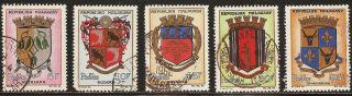 1963 Madagascar,  Malagasy: Scott 348 - 352 (5) (5f - 25f Coats Of Arms) - photo