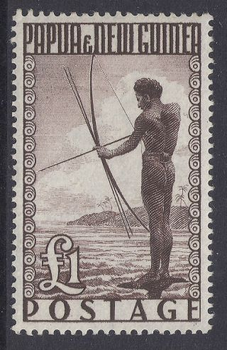 1952 - 1958 Papua Guinea Sg15 £1 Fisherman Mlh Our Ref M6 photo