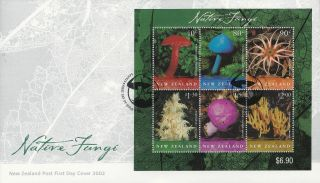 Nz Fdc 6 Mar 02 Native Fungi Miniature Sheet photo
