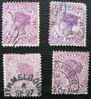 Australia Victoria State Queen Victoria Stamp Good 2d Violet Selection photo