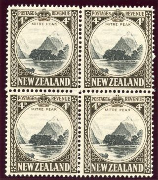 Zealand 1936 Kgvi 4d Black & Sepia Block Of Four.  Sg 583.  Sc 209. photo