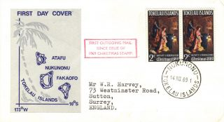 Zealand 1969 Christmas Stamp Pair First Day Cover Ref:cw387 photo