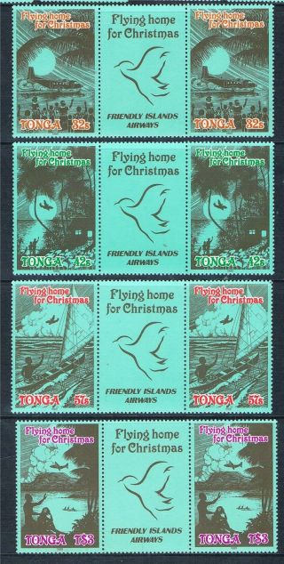 Tonga 1989 Christmas Flying Home Gutter Pr Sg 1059/62 photo