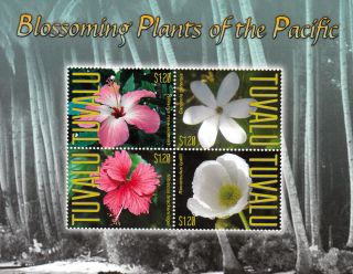 Tuvalu 2013 Blossoming Plants Of Pacific Ii 4v M/s Butterflies Flowers photo
